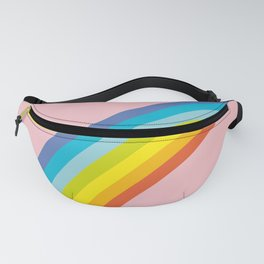 Kawaii funny white clouds, muzzle with pink cheeks and winking eyes, rainbow on light pink Fanny Pack