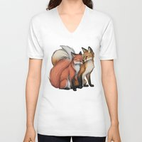 cuddle V-neck T-shirts featuring Fox Cuddle by Lyndsey Green Illustration