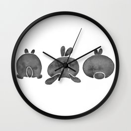 Bunny Butts - Black Palette Wall Clock