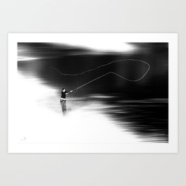 A river runs through it. (dotted) Art Print