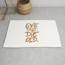 Live Fast. Die Old. (Gold) Rug