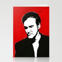 quentin tarantino Stationery Cards featuring Quentin Tarantino in Color by Carolyn Campbell