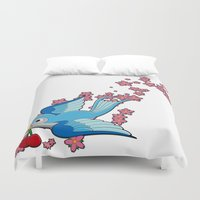 swallow Duvet Covers featuring Blue Swallow by Jelly Roger