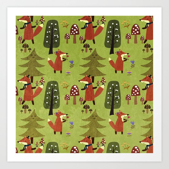 Happy foxes in the forest - Cute Fox Pattern Art Print