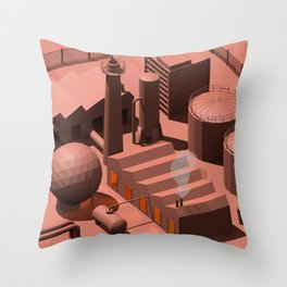 Low Poly Industry Throw Pillow