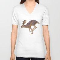 jackalope V-neck T-shirts featuring Jackalope by Sadé Hickman