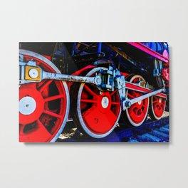 Beautiful Vintage Steam Locomotive Wheels Of Red Color Metal Print