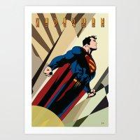 Art Deco Superman 2 Art Print