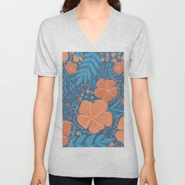 Tropical Flowers and Leaves Botanical in Terracotta Burnt Orange and Turquoise Teal Blue Unisex V-Neck