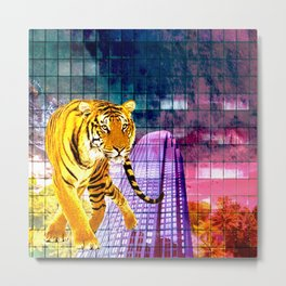 TIGER PRINT #1 - A DAY AT THE BEACH FEAT. SKYSCRAPER Metal Print