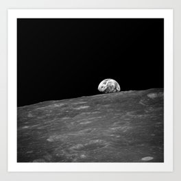 The first photograph Earthrise during Apollo 8. Art Print