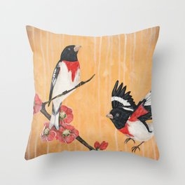 Rest Flowering Quince Rose-breasted Grosbeak Throw Pillow