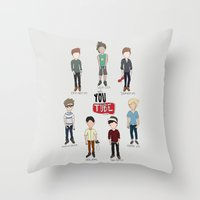 youtube Throw Pillows featuring Youtube Boys  by Natasha Ramon