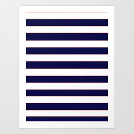Double Stripes (Navy & Coral) Art Print