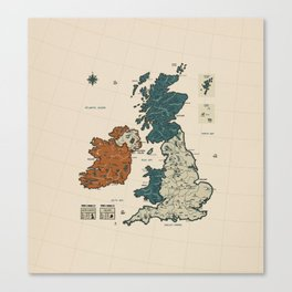 UK and Ireland Vintage Map - without border Canvas Print