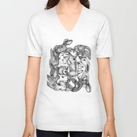 rabbits V-neck T-shirts featuring Rabbits by Ray Eng
