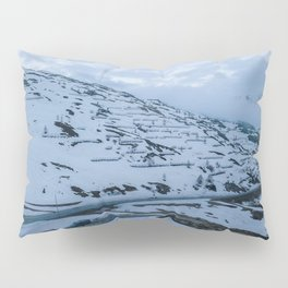 italy alps mountain snow camping vanlife village drone aerial roadtrip frozen landscape pass Pillow Sham