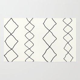 Moroccan Diamond Stripe in Black and White Rug