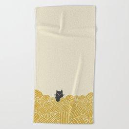 Cat and Yarn Beach Towel