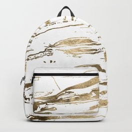 Gold abstract marbleized paint Backpack