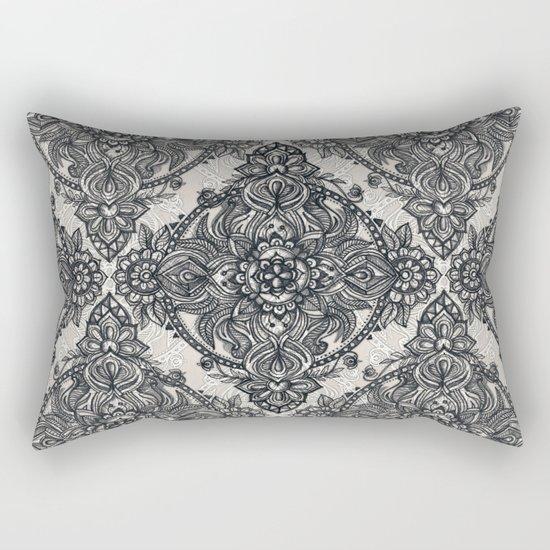 Charcoal Lace Pencil Doodle Rectangular Pillow