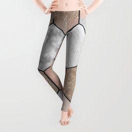 Marble hexagons and rose gold on black Leggings