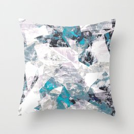 Textured blue white marble wall Throw Pillow