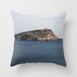 Greek seascape - landscape photography poster - Cape Sounio - Greece Throw Pillow