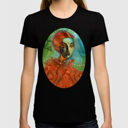 """""""Exotic woman in green and orange tropical jungle"""" T-shirt"""