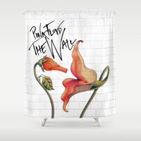 floyd Shower Curtains featuring Pink Floyd The Wall by DreamBeyondArt