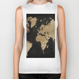 Gold World Map Biker Tank
