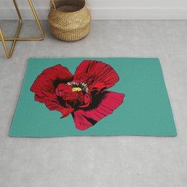 Seasons K Designs Red Poppy on Aqua Print Rug