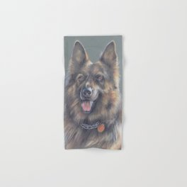 German Shepherd DOG Portrait Pastel drawing on green babckground Hand & Bath Towel