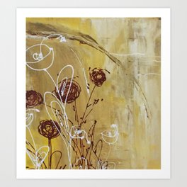 Yellow Tan Spring Abstract Flowers. Jodilynpaintings. Abstract Floral Art Print