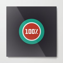 """Print illustration """"percentage - 100%"""" with long shadow in new modern flat design Metal Print"""