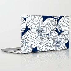 Dogwood Big Linear Floral: Navy Ivory Laptop & iPad Skin