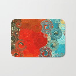 Turquoise and Red Swirls Bath Mat