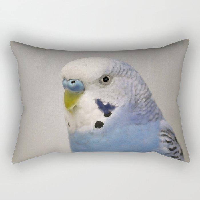 Blue Parakeet Rectangular Pillow