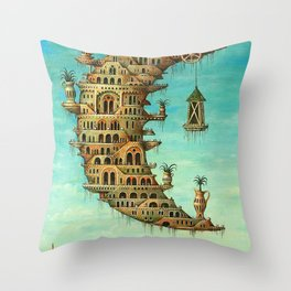 'Living on the Moon' surrealist landscape painting Throw Pillow