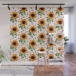 Colorful Sunflower Dots Pattern Wall Mural