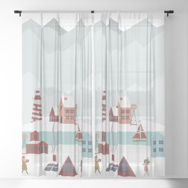 Christmas Village 2 Sheer Curtain