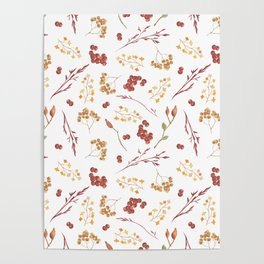 Autumn yellow orange pink red watercolor fall leaves berries Poster