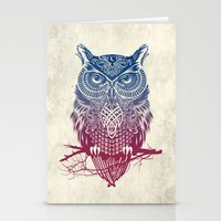 dragon ball z Stationery Cards featuring Evening Warrior Owl by Rachel Caldwell