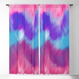 Modern geometrical pink blue teal watercolor ikat Blackout Curtain