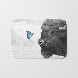 Bison and Butterfly (square format) Bath Mat