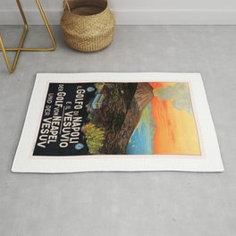 1930s Italy Gulf of Naples and the Vesuvius Poster Rug