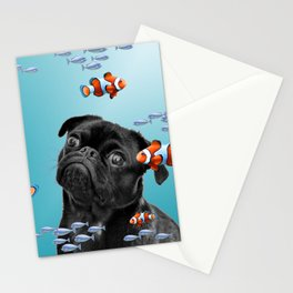 Pug Mops Dog between Clownfishes Stationery Cards