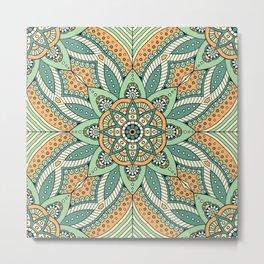 Indian Floral Ethnic Mandala Pattern Metal Print