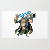 luffy Area & Throw Rugs featuring Franky the cyborg by Borsalino