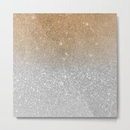 Trendy silver elegant gold gradient glitter pattern Metal Print